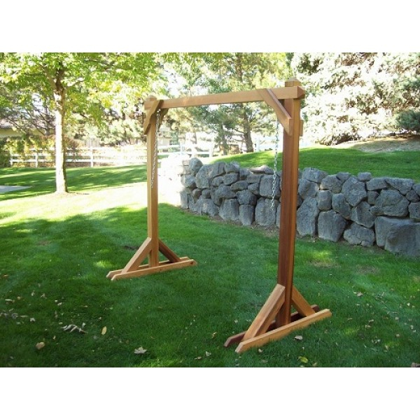 Best And Newest Wood Country Basic Swing Frame Porch Swing Stand 4bs 1 B Inside Patio Porch Swings With Stand (View 11 of 20)