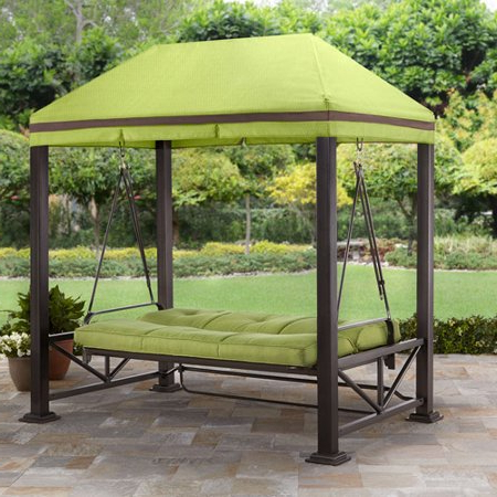 Better Homes & Gardens Sullivan Pointe Gazebo Porch For Fashionable 3 Person Light Teak Oil Wood Outdoor Swings (View 8 of 20)