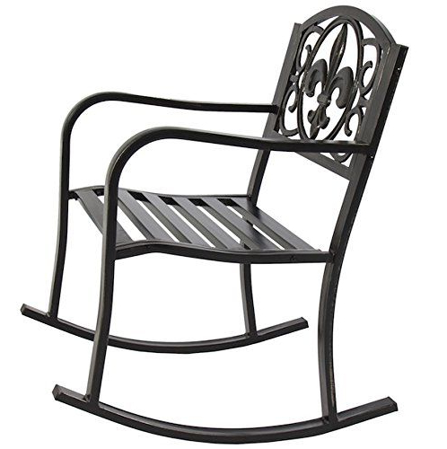 Black Outdoor Durable Steel Frame Patio Swing Glider Bench Chairs With Well Known Patio Rocking Chair Durable Wrought Iron Construction Porch (View 9 of 20)