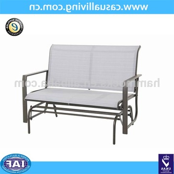 Black Steel Patio Swing Glider Benches Powder Coated For Widely Used Outdoor Patio Swing Steel Love Glider Bench,4 Feet,teslin – Buy Glider Rocking Chair,love Glider,glider Rocker Product On Alibaba (View 15 of 20)
