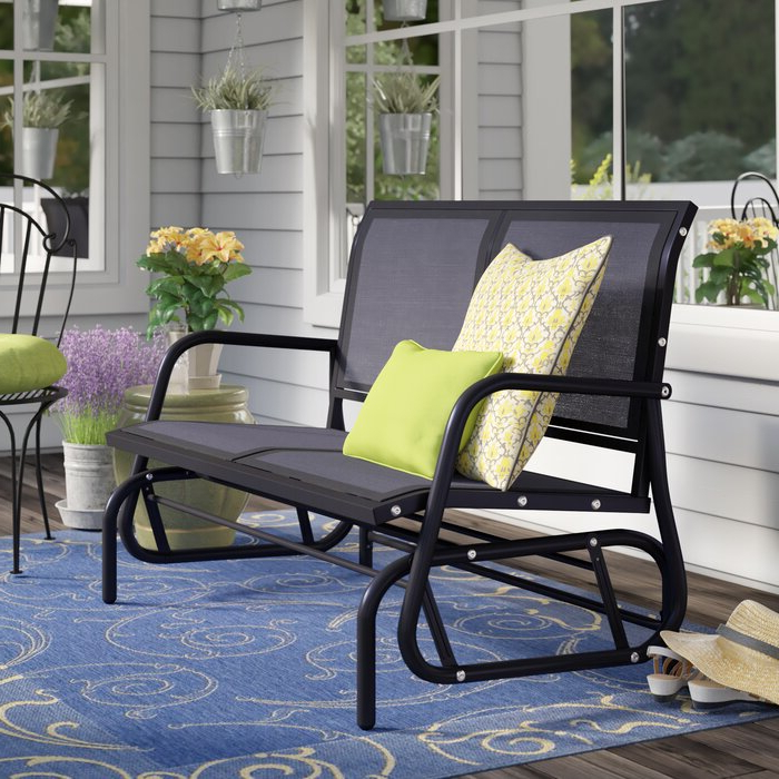 "Black Steel Patio Swing Glider Benches Powder Coated With Regard To Favorite Callen 49"" Outdoor Patio Swing Glider Bench Chair – Dark Grey (View 17 of 20)"