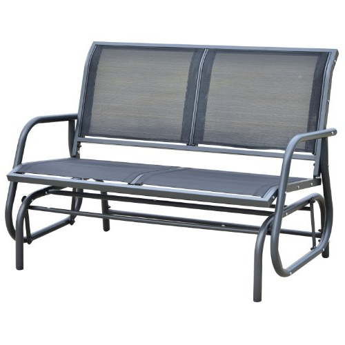 Black Steel Patio Swing Glider Benches Powder Coated Within Widely Used 21 Most Wanted Patio Gliders (View 14 of 20)