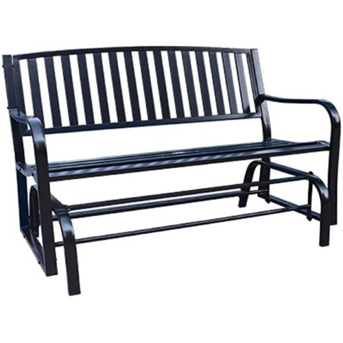 Bond Manufacturing 212274 Gliding Park Bench Black, Steel Within 2019 Black Steel Patio Swing Glider Benches Powder Coated (View 11 of 20)