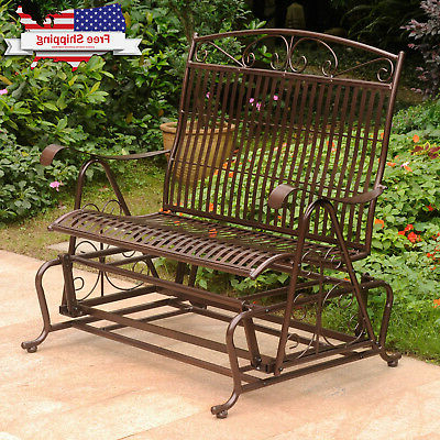 Bronze Outdoor Loveseat Glider Metal Rocker Vintage Porch With Most Current Outdoor Patio Swing Porch Rocker Glider Benches Loveseat Garden Seat Steel (View 10 of 20)