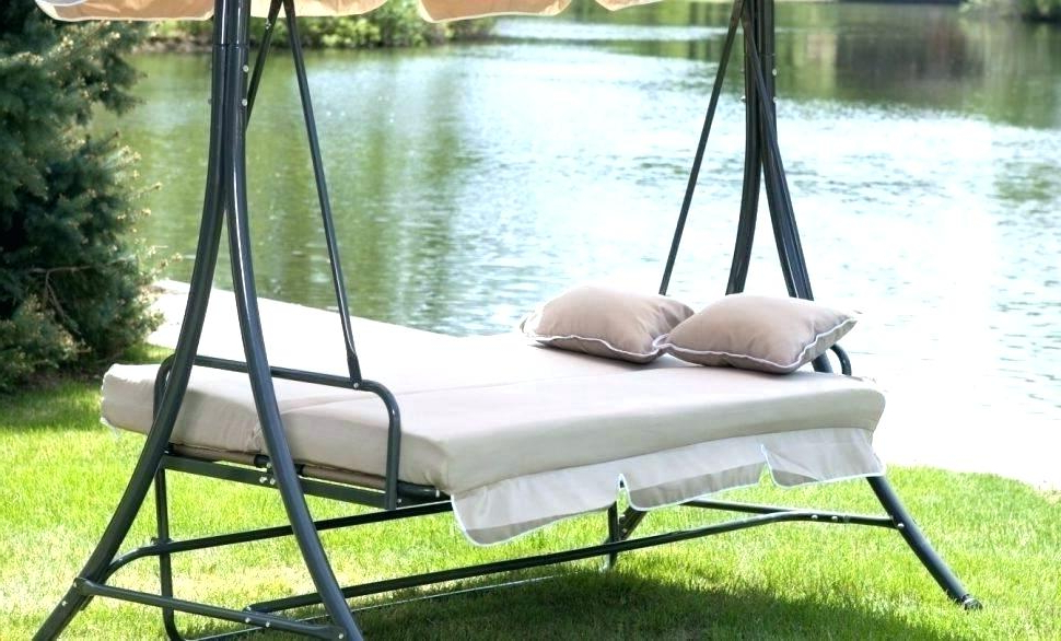 Canopy Patio Porch Swings With Pillows And Cup Holders Pertaining To Popular Outside Swing Chairs – Thebigm (View 17 of 20)