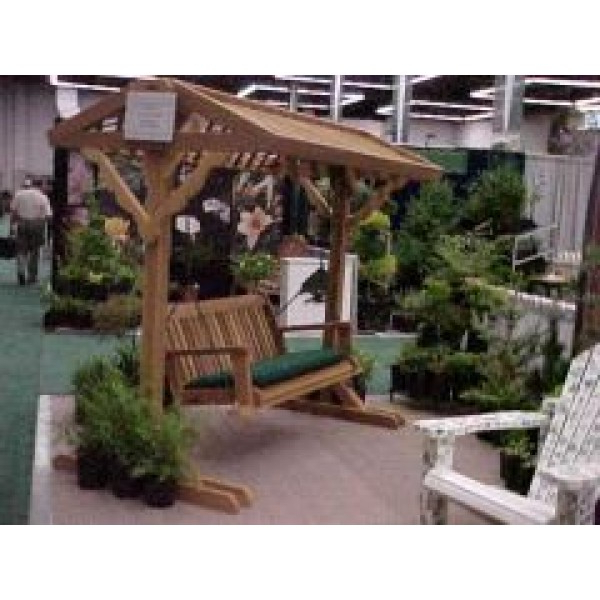 Canopy Patio Porch Swings With Pillows And Cup Holders Regarding Well Known Wood Country 5 Ft (View 15 of 20)