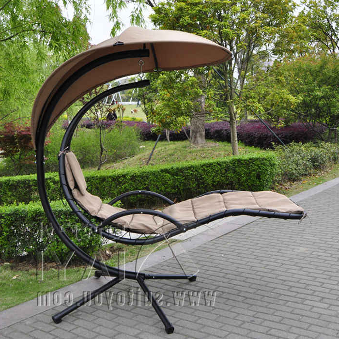 Canopy Porch Swings With Famous Hanging Chaise Lounger Chair Arc Stand Air Porch Swing (View 9 of 20)
