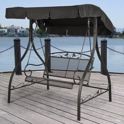 Canopy Porch Swings With Preferred Mainstays Jefferson Wrought Iron 2 Person Outdoor Canopy Porch Swing (Gallery 11 of 20)