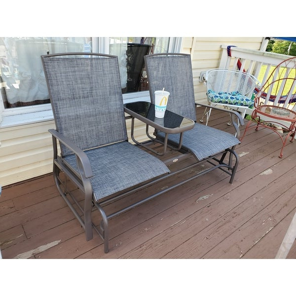Center Table Double Glider Benches With Regard To Widely Used Top Product Reviews For Outsunny Two Person Outdoor Mesh (View 18 of 20)