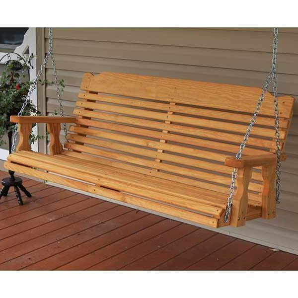 Centerville Amish Heavy Duty 700 Lb Classic Treated Porch With Most Popular 3 Person Light Teak Oil Wood Outdoor Swings (Gallery 3 of 20)