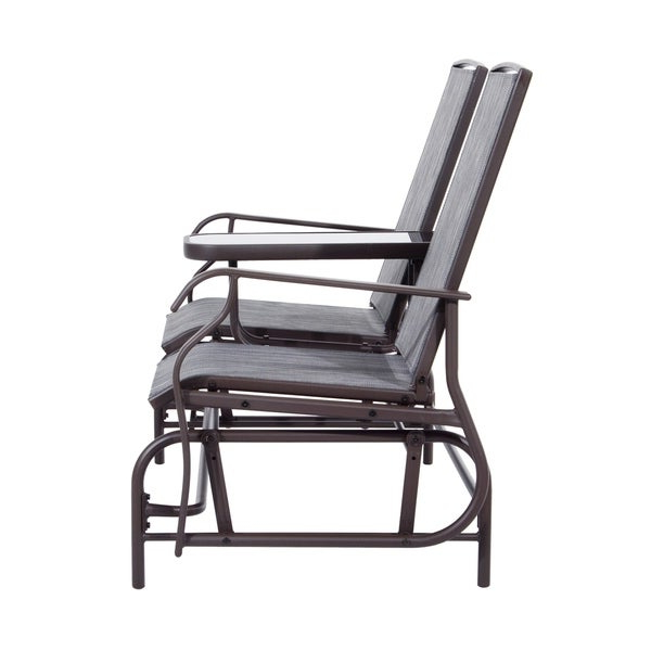 Chairs Outsunny 2 Person Outdoor Mesh Fabric Patio Double Regarding Famous Black Outdoor Durable Steel Frame Patio Swing Glider Bench Chairs (Gallery 13 of 20)