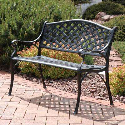 Checkered 2 Person Black Cast Aluminum Outdoor Bench Intended For Preferred 2 Person Antique Black Iron Outdoor Gliders (Gallery 14 of 20)