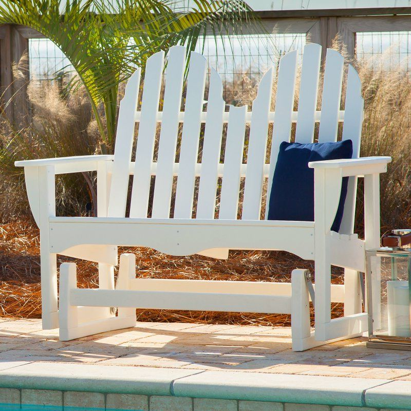 Classic Adirondack Glider Benches Throughout Latest Polywoodâ® Classic Recycled Plastic 4 Ft. Adirondack Outdoor (Gallery 5 of 20)