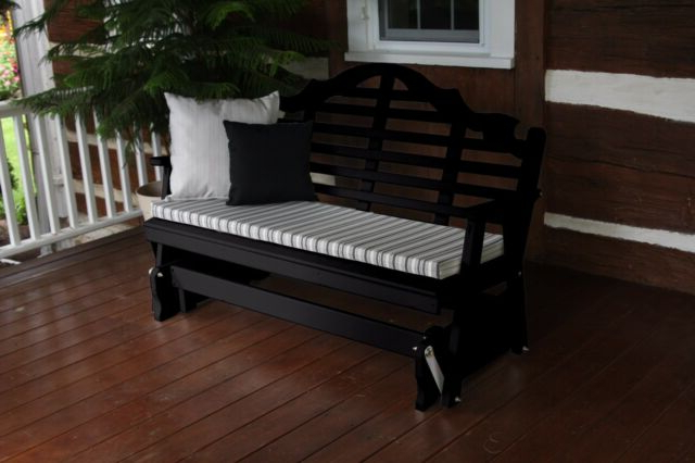 Classic Glider Benches For Well Liked Classic Outdoor 4 Foot Marlboro Glider Bench Amish Made In The Usa Black Paint (Gallery 18 of 20)