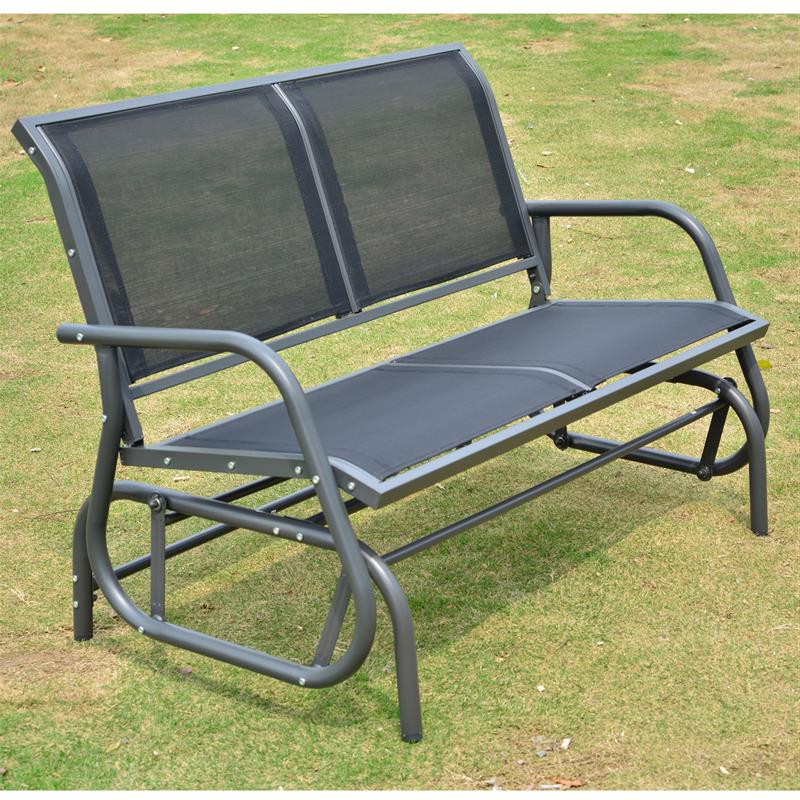 Featured Photo of Black Outdoor Durable Steel Frame Patio Swing Glider Bench Chairs