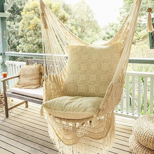 Cotton Porch Swings With Fashionable Hanging Hammock Chair With Macrame **solid Color** Swing (Gallery 1 of 20)