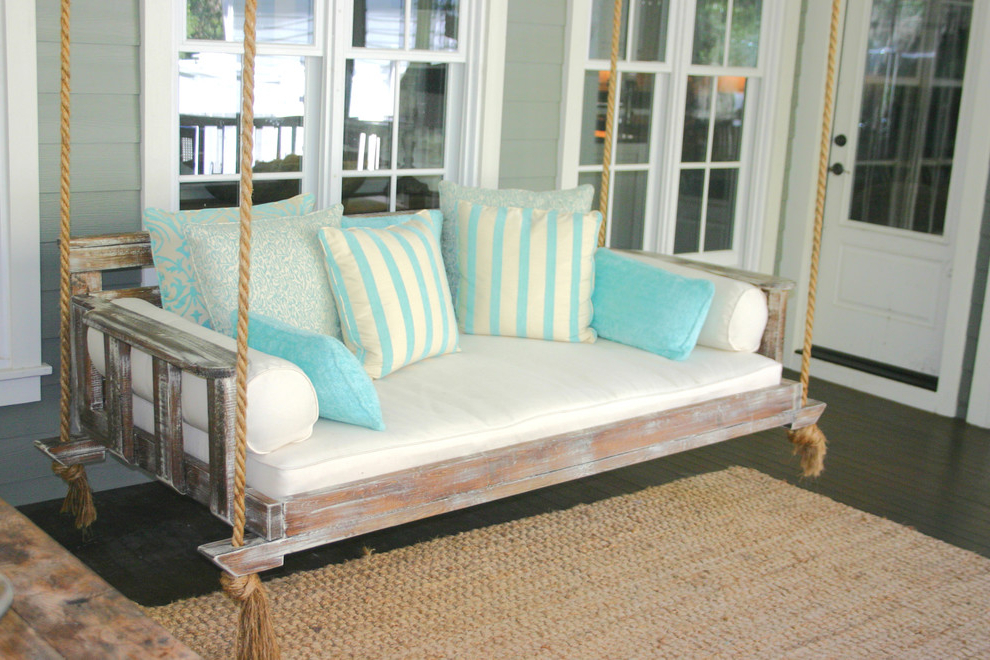 Cotton Porch Swings Within Most Current Gorgeous Wooden Porch Swings In Porch Farmhouse With Wooden (View 13 of 20)