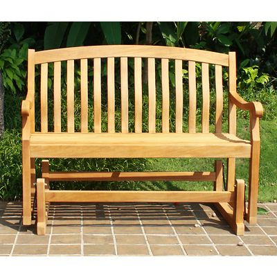 Crestwood Garden 4' Teak Glider Patio Bench – Brown (View 6 of 20)