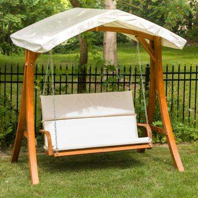 Current Canopy Patio Porch Swings With Pillows And Cup Holders In Wooden Patio Swing Seater With Canopy (View 12 of 20)