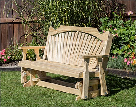 Current Fanback Glider Benches Regarding Treated Pine Fanback Glider (Gallery 20 of 21)