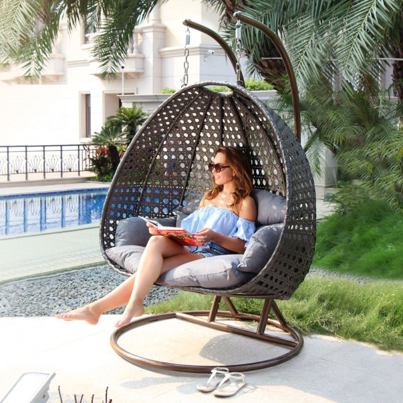 Featured Photo of Rattan Garden Swing Chairs