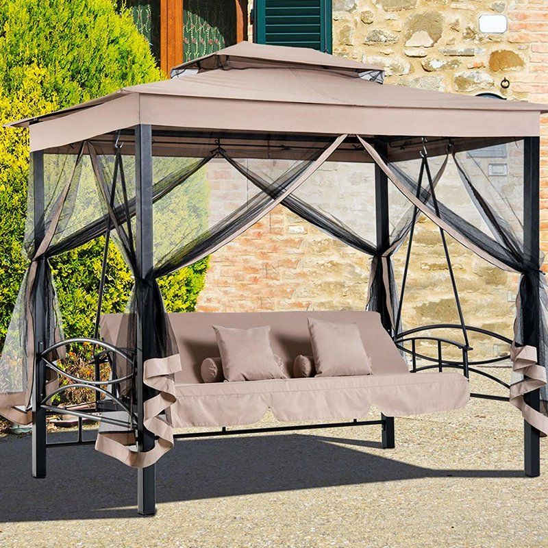 Current Patio Gazebo Porch Canopy Swings With Regard To Kenyatta Outdoor Patio Daybed Canopy Gazebo Swing With Mesh (View 3 of 20)