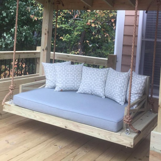 Custom Outdoor Glider / Porch Swing Cushions – Patio Lane With Regard To Latest Deluxe Cushion Sunbrella Porch Swings (View 8 of 20)