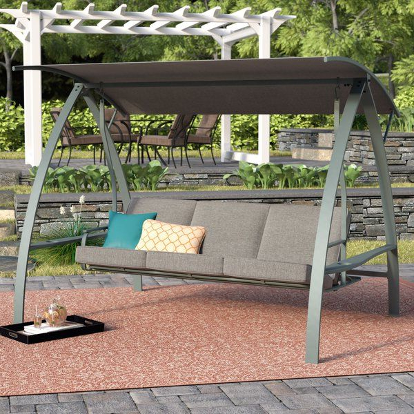 Daybed Porch Swings With Stand Throughout Trendy Marquette 3 Seat Daybed Porch Swing With Stand (View 2 of 20)