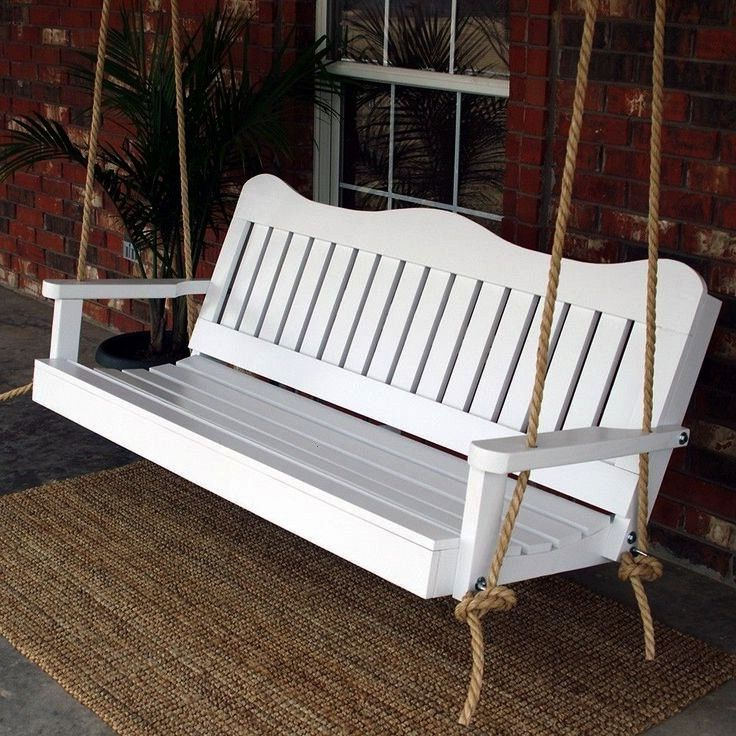 Decorative #furniture #outdoor #porches #white #porch #swing Regarding Most Recent Contoured Classic Porch Swings (View 4 of 20)