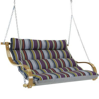 Deluxe Cushion Sunbrella Porch Swings Intended For Popular Hatteras Hammocks Deluxe Cushioned Double Porch Swing (Gallery 6 of 20)