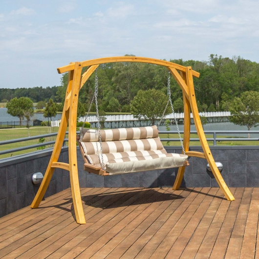Double Cushioned Porch Swing – Regency Sand Within Widely Used Porch Swings (Gallery 20 of 20)
