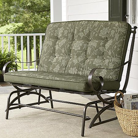 Double Glider Benches With Cushion For Newest Jaclyn Smith Cora Cushion Double Glider Green – Limited (View 7 of 20)