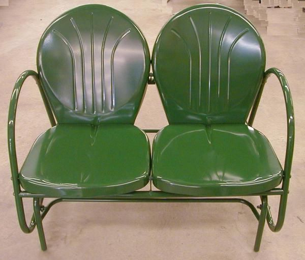 Double Metal Glider Hunter Green Tulip Retro Lawn Chair With Best And Newest Metal Powder Coat Double Seat Glider Benches (View 8 of 20)