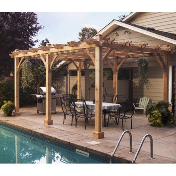 Famous A4 Ft Cedar Pergola Swings Intended For Breeze 12 Ft. W X 16 Ft. D Solid Wood Pergola (Gallery 6 of 20)