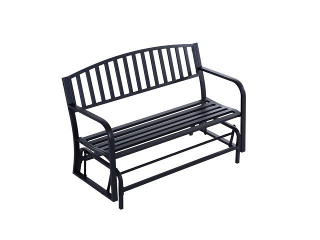 "Famous Black Steel Patio Swing Glider Benches Powder Coated For Outsunny 50"" Outdoor Steel Patio Swing Glider Bench Loveseat – Black (View 4 of 20)"