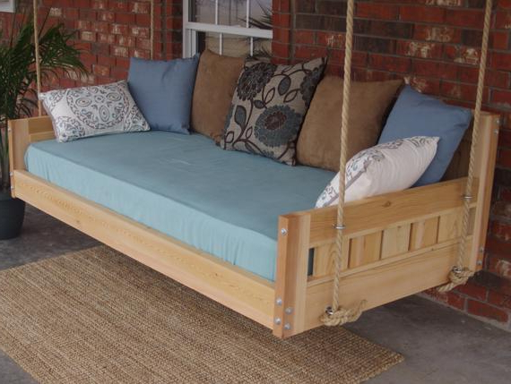 Famous Brand New Cedar Daybed Swing In Country Style, Full Size Swinging Bed With Hanging Chain Or Rope – Free Shipping Regarding Country Style Hanging Daybed Swings (View 8 of 20)