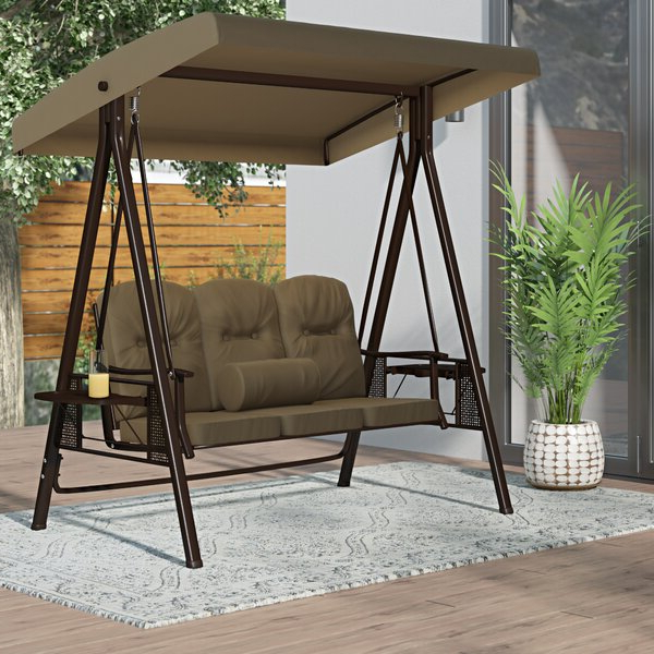 Famous Canopy Patio Porch Swings With Pillows And Cup Holders Pertaining To Outdoor Porch Swing Cushions (Gallery 3 of 20)