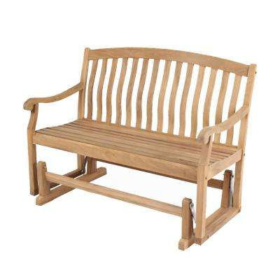 Famous Colton Teak Wood Outdoor Glider Bench In Low Back Glider Benches (Gallery 17 of 20)
