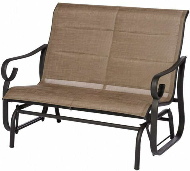 Famous Hampton Bay Crestridge Padded Sling Outdoor Glider In Putty With Sling Double Glider Benches (View 16 of 20)