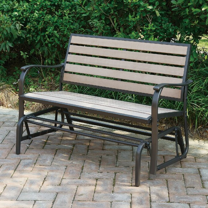 Famous Iron Grove Slatted Glider Benches Regarding Wayzata Outdoor Glider Bench (Gallery 13 of 20)