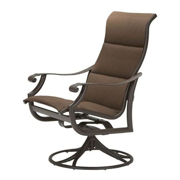 Famous Tropitone Montreux Padded Sling High Back Swivel Rocker, 28 Lbs. With Padded Sling High Back Swivel Chairs (Gallery 6 of 20)
