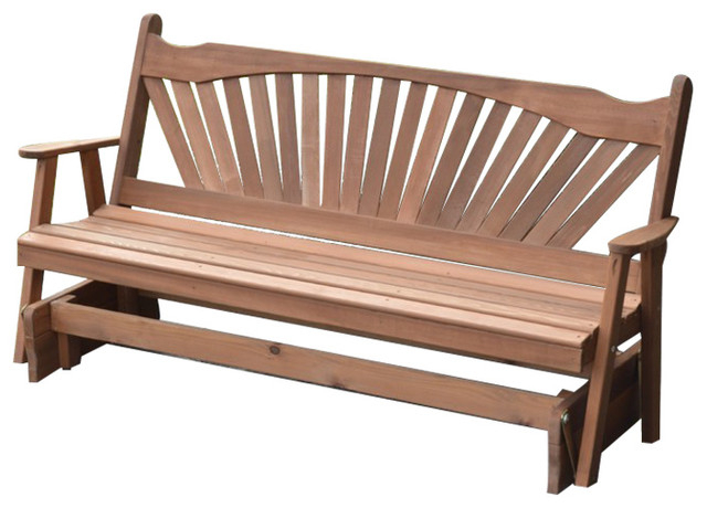Fanback Glider Benches Intended For Current Cedar Fanback Glider Bench, Redwood, 6' (Gallery 3 of 21)