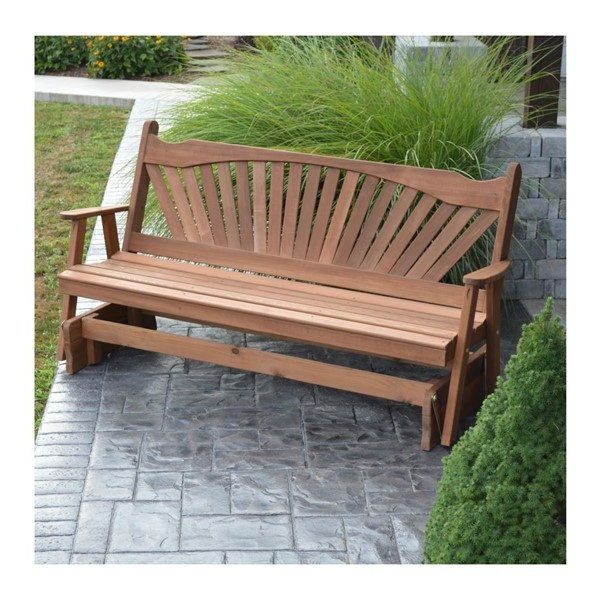 Fanback Glider Benches With Best And Newest Amish Made Fanback Wooden Glider Bench – 5 Ft. Or 6 Ft (View 5 of 21)