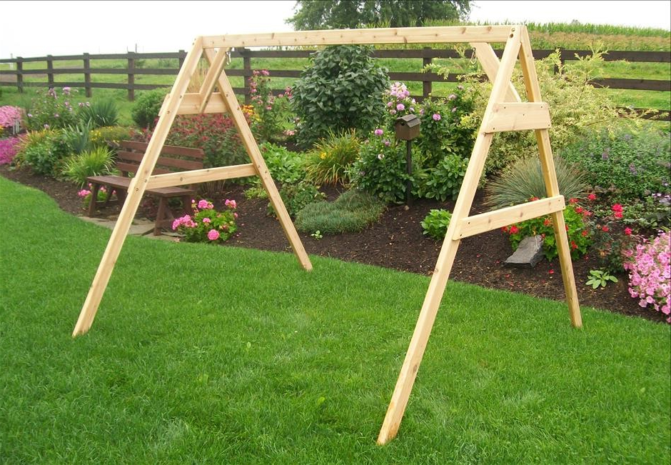 Fashionable Cedar A Frame Stand For Swing Or Swing Bed With Hangers Throughout Porch Swings With Stand (View 11 of 20)