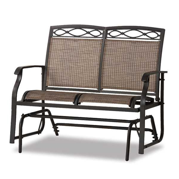 Fashionable Metal Powder Coat Double Seat Glider Benches Regarding Bocara Sling Double Glider (Gallery 3 of 20)
