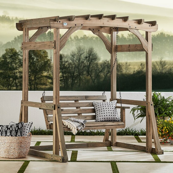 Fashionable Odessa Pergola Porch Swing With Stand Intended For Pergola Porch Swings With Stand (View 6 of 20)