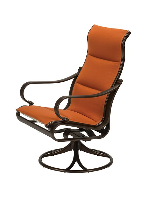 Fashionable Padded Sling High Back Swivel Chairs Regarding Torino Padded Sling Swivel Rocker High Back – Hauser's Patio (Gallery 9 of 20)