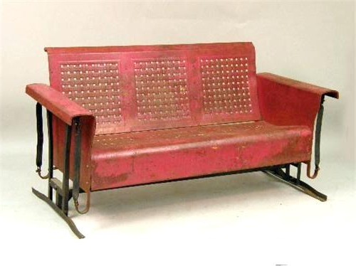 Fashionable Rocking Glider Benches Pertaining To Antique Glider 1 A Vintage Red Painted Metal Porch Swing (View 20 of 20)