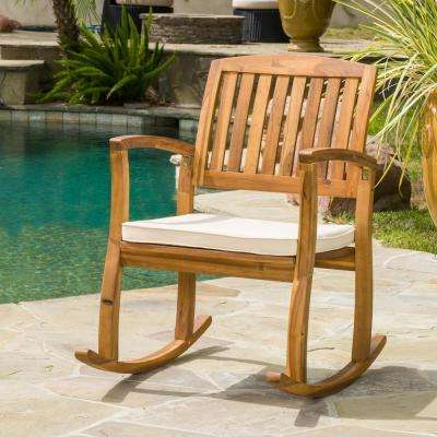 Fashionable Selma Teak Finish Wood Outdoor Rocking Chair With Cream Cushion In Rocking Benches With Cushions (Gallery 20 of 20)