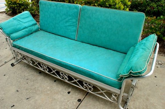 Favorite Aluminum Glider Benches With Cushion Inside Vintage 1950s Aqua Vinyl Aluminum Patio Glider Sofa (View 11 of 20)